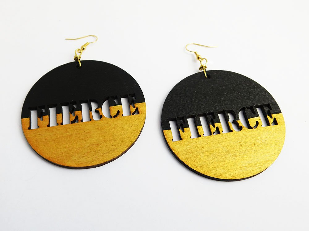 Fierce wooden earrings from Blacker the Berry: cool, affordable gifts under $15
