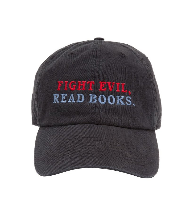"Cool affordable gifts under $15: ""Fight evil, read books"" cap"