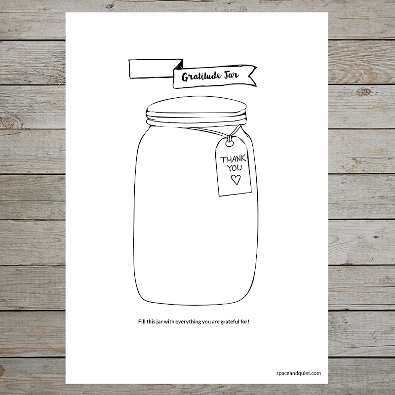 Printable gratitude journal pages: Gratitude jar at Space and Quiet