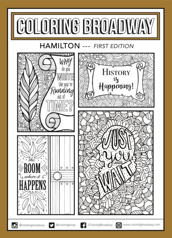 Cool gifts for tween girls: Hamilton coloring pages or postcards from Coloring Broadway
