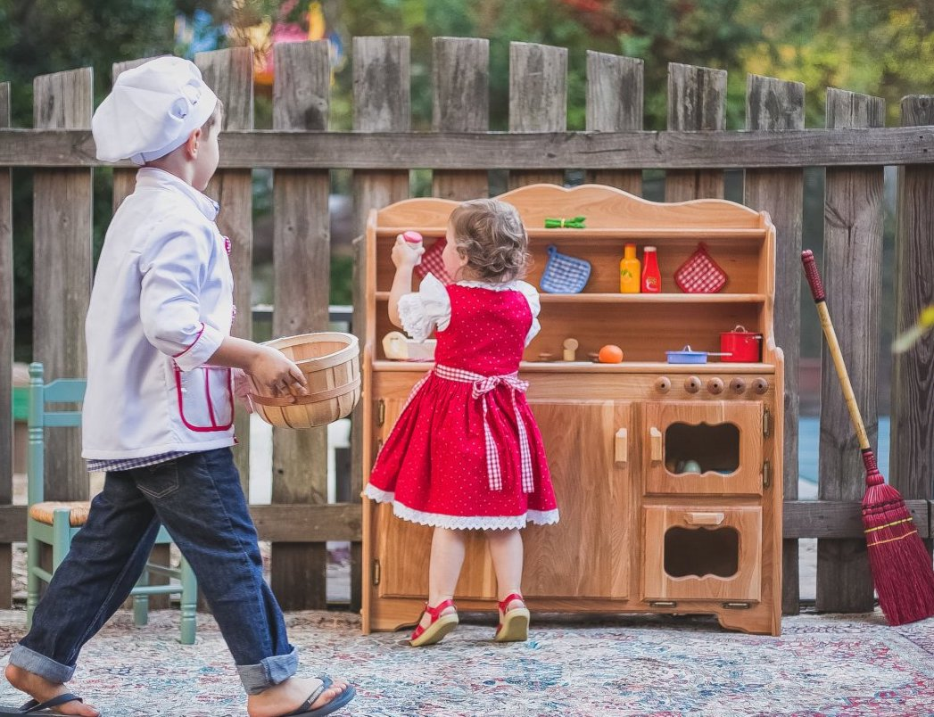 Handmade toys for kids: Wooden Waldorf play kitchen from A Toymaker's Daughter