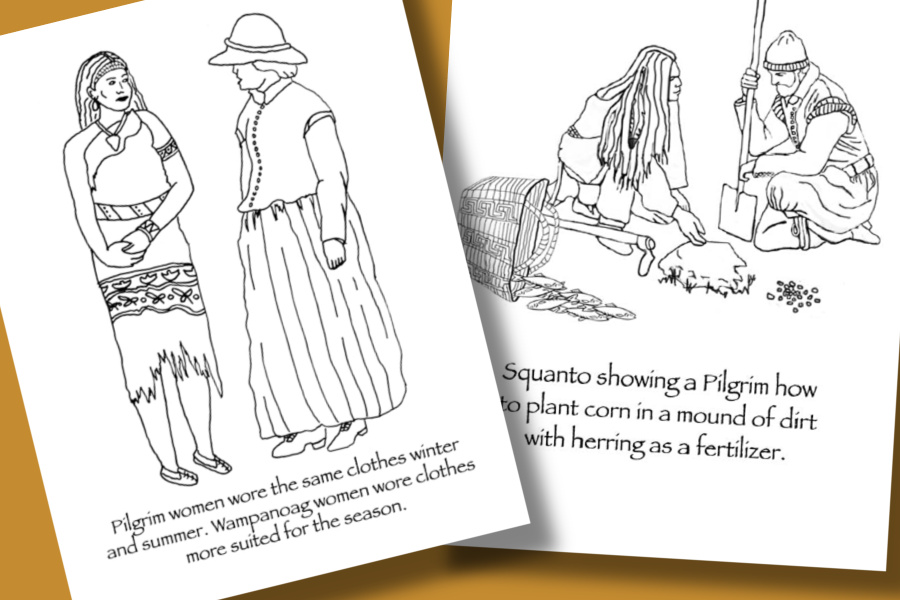 A collection of culturally and historically accurate Thanksgiving coloring pages for children