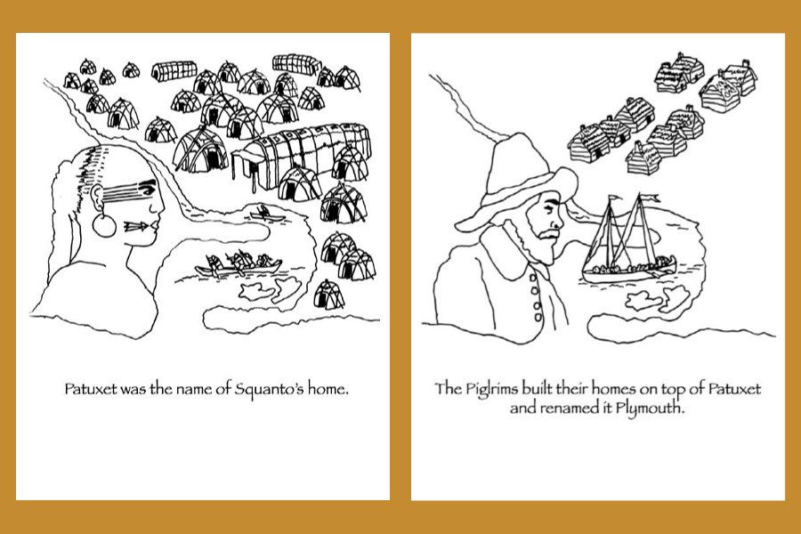 Historically accurate Thanksgiving coloring pages: how Patuxet became Plymouth