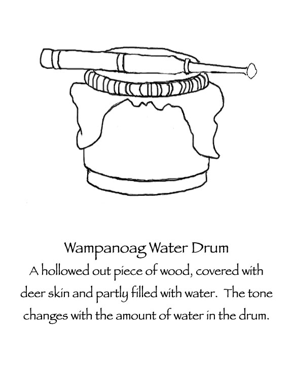 Historically accurate Thanksgiving coloring pages: Wampanoag Musical instruments and clothing