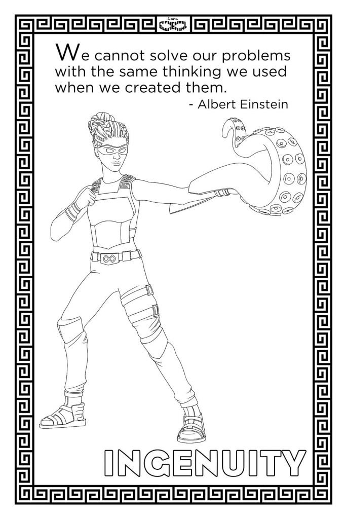 I Am Elemental Ingenuity coloring page from their new workbook, with 100% of proceeds in November supporting a fantastic military family non-profit | read more: coolmompicks.com