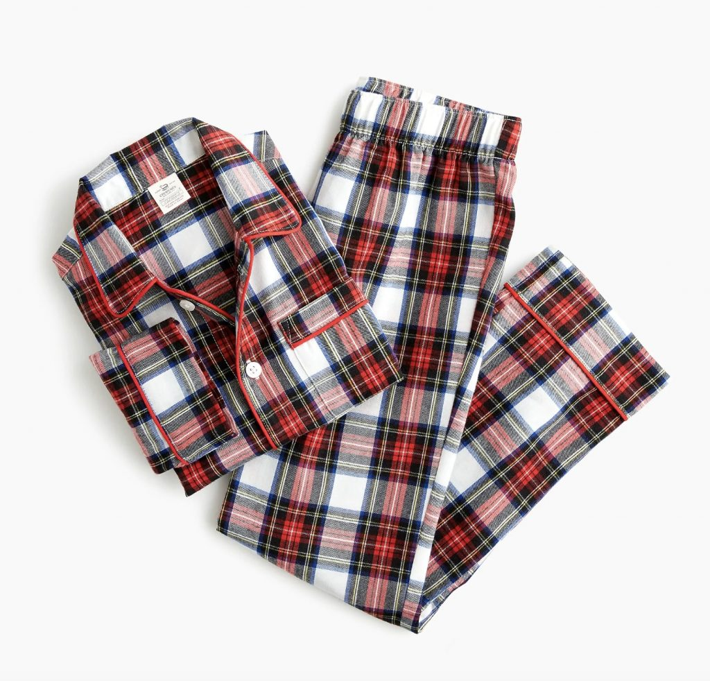 JCrew kids' flannel pajamas on sale for the holidays