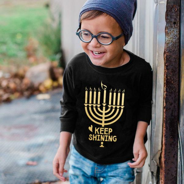 Positive kids' holiday tees: Keep shining kids' Hannukah tee is sweet, not sassy