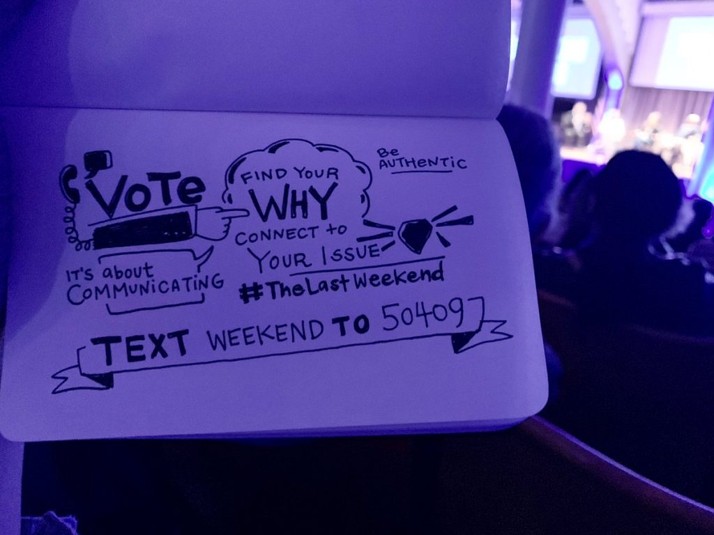 Text WEEKEND to 50409 to find Last Weekend GOTV needs near you | photo: Lilly Lam on Twitter