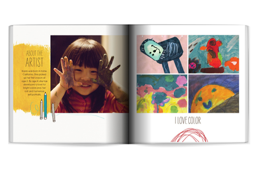Meaningful gifts for kids: Photo book filled witth their own artwork