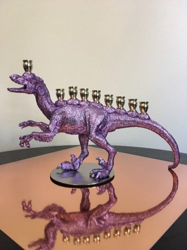 Cool Hanukkah gifts for kids: Menociraptor Menorah from the Vanilla Studio