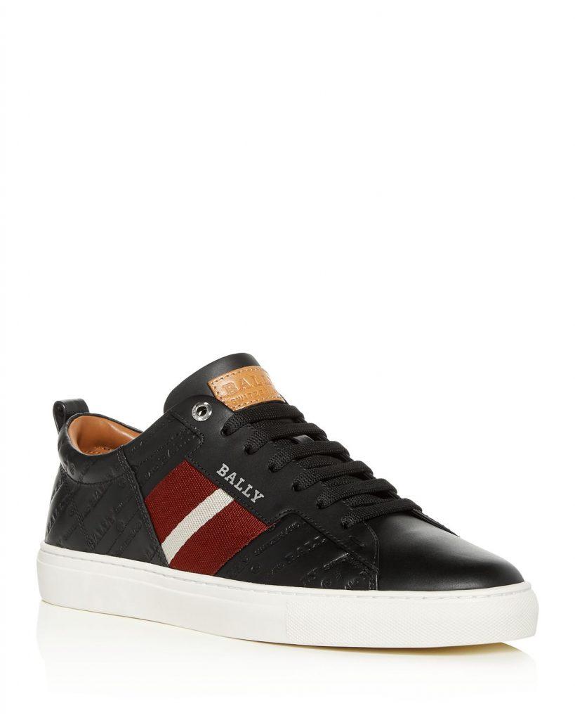 Men's Bally embossed leather sneaker on sale