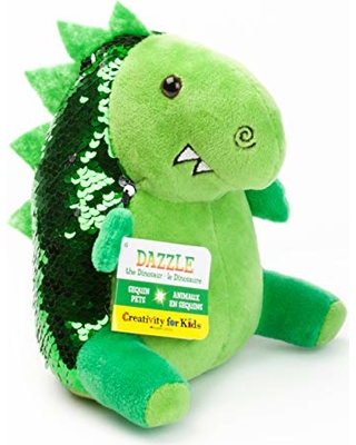Cool gifts for kids under $15: Weighted sensory sequin dinosaur toy