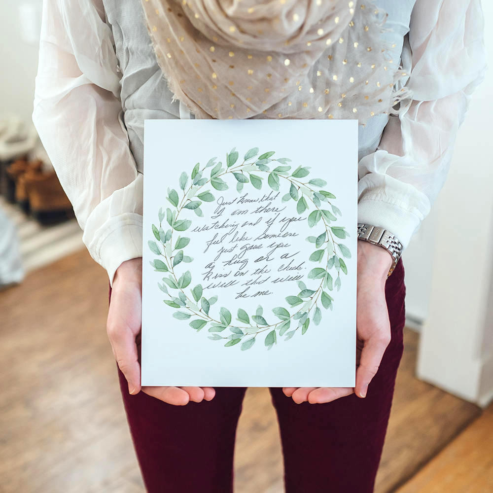 Creative personalized gifts: custom artwork from a loved one's handwriting at the Rooted Pair