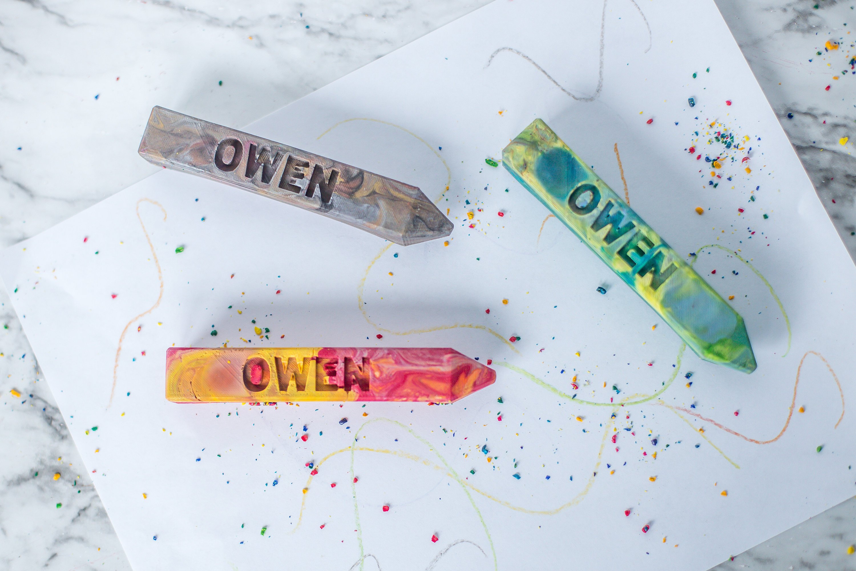 Creative personalized gifts: Custom handmade crayon set with a child's name at Art2theExtreme