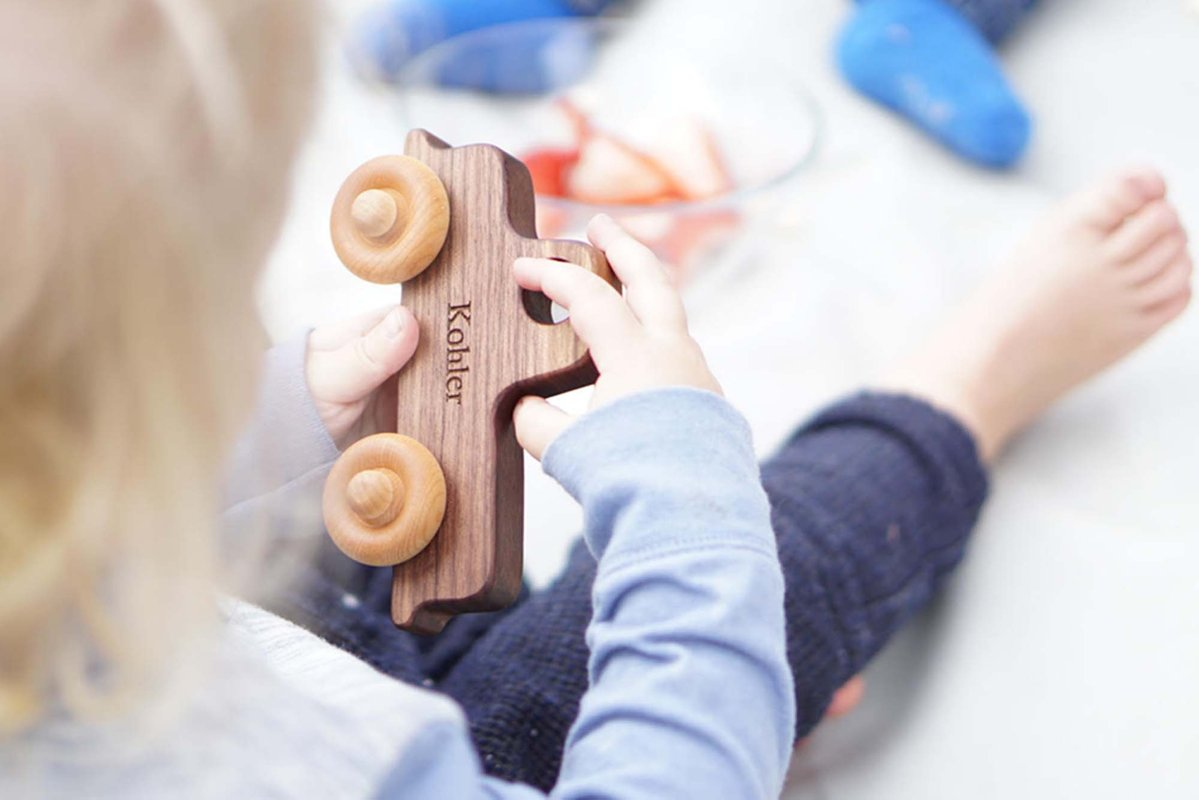 Cool kids' gifts under $15:  personalized old school wooden truck from Smiling Tree Toys