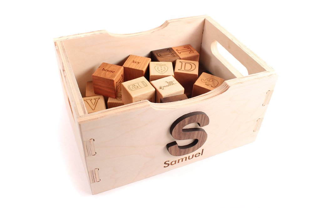 Handmade toys for kids: Personalized wooden toy crate from Smiling Tree Toys