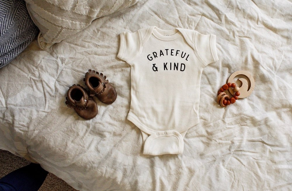 Polished Prints: Grateful and Kind onesie