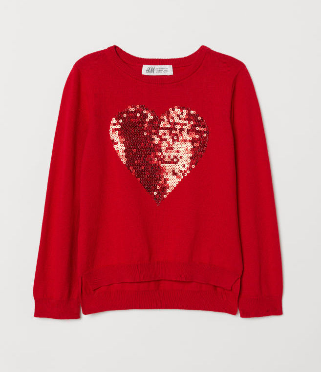 Cool kids' gifts under $15: Flip sequin heart sweater at H&M