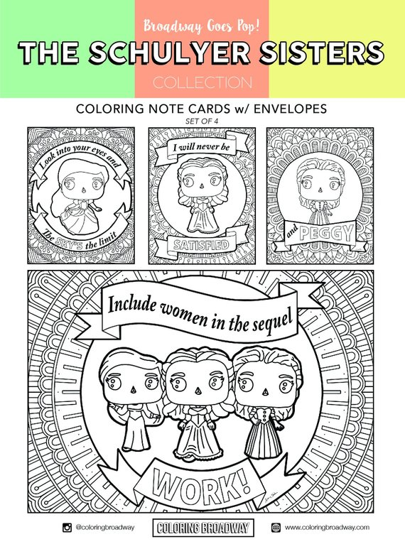 The Schuyler Sisters printable coloring pages and postcards from Coloring Broadway
