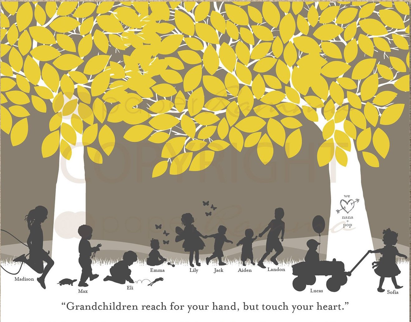 Special grandparent gifts: Silhouette art print  from PaperRamma | cool mom picks holiday gift guide