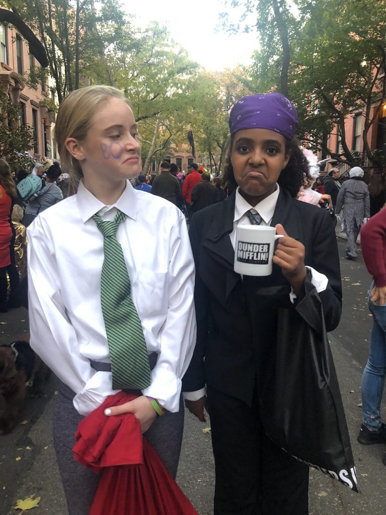 "Best Garden Place, Brooklyn Halloween costumes 2018: Michael and Jim (""book face"" from the Office 