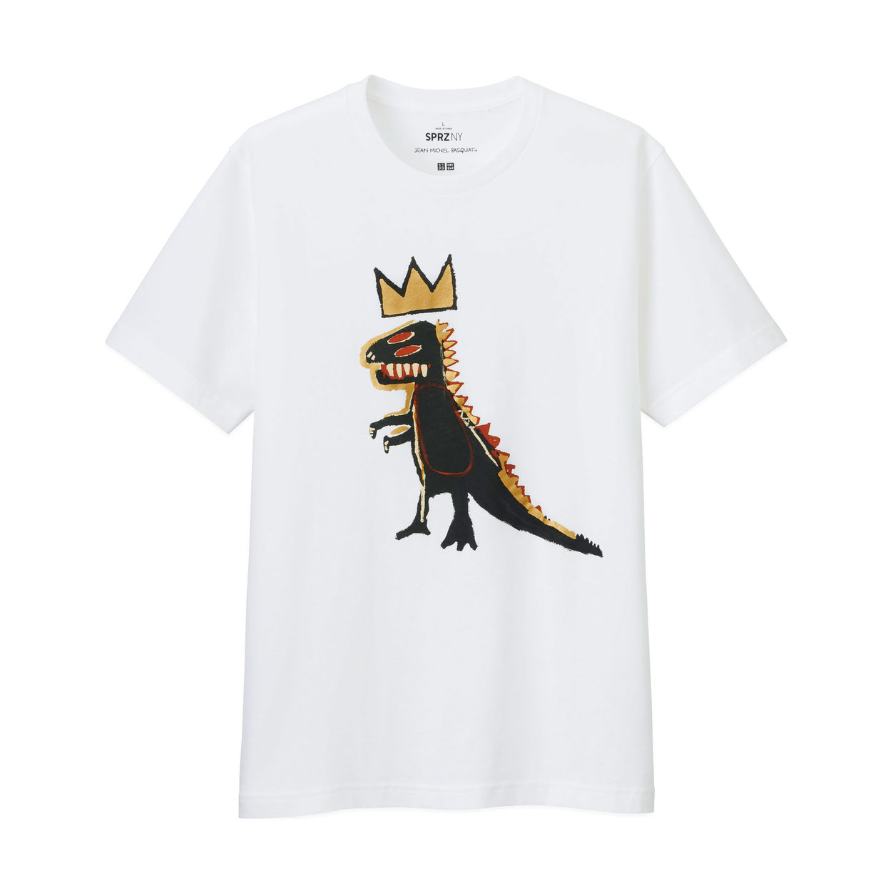 Cool gifts for tween boys (and girls): MoMA-Uniqlo Jean-Michele Basquiat gold dino tee