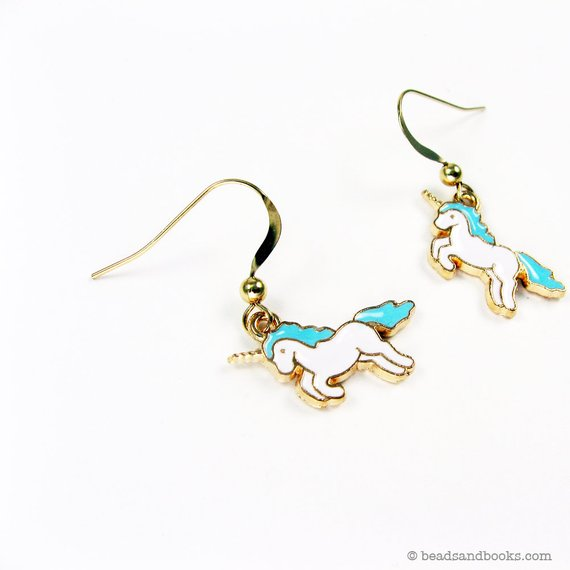 Cool kids' gifts under $15: Unicorn earrings by michelle Mach