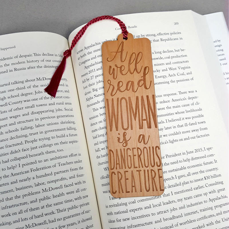 Well-read woman handmade bookmark: cool gifts under $15