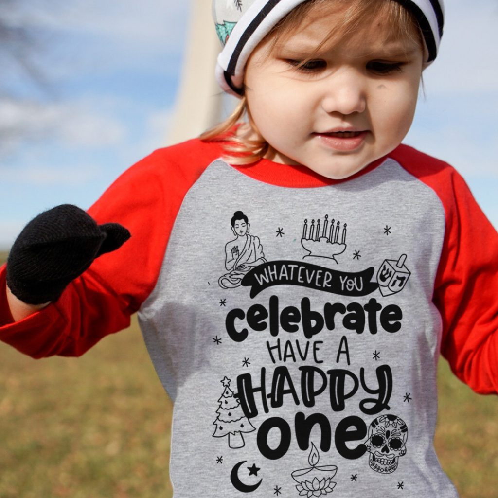 Whatever you celebrate...a positive, inclusive holiday tee for kids from Free to Be Kids