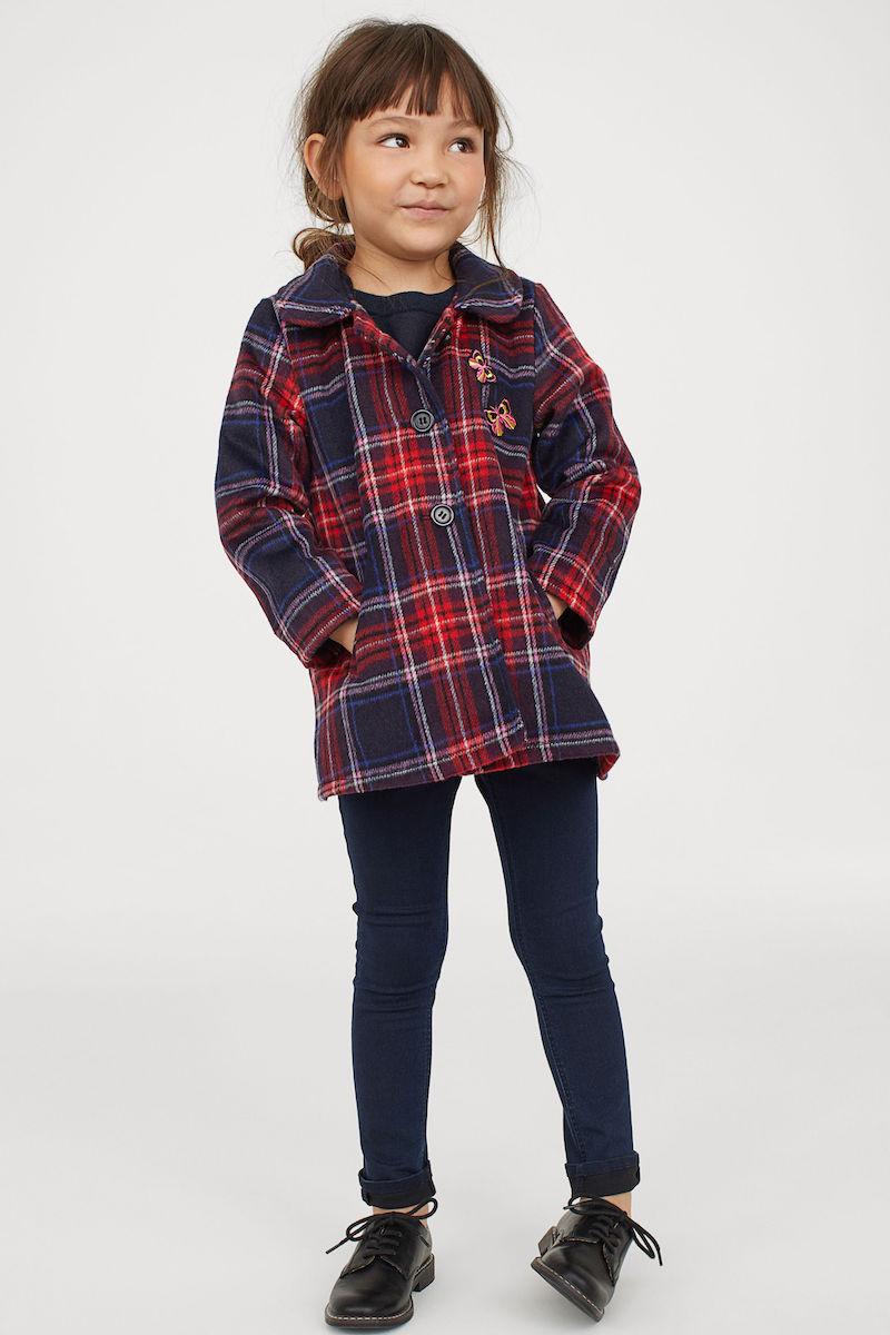 Stylish winter coats for girls: Bold checks at H&M