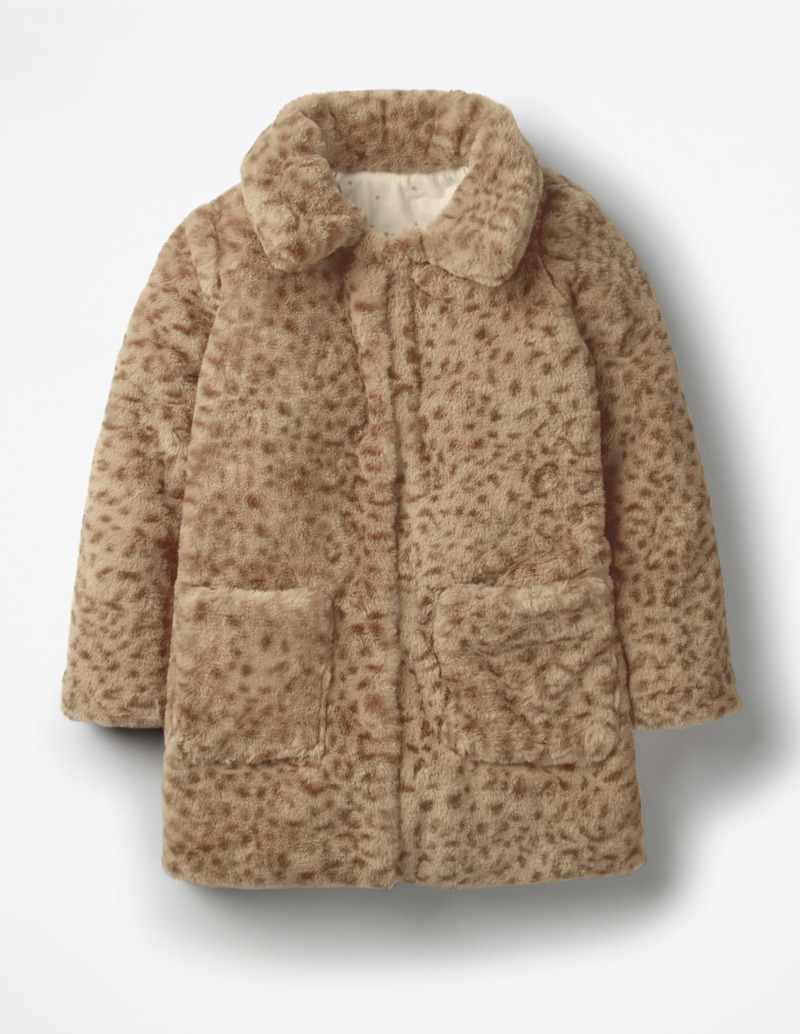 Stylish winter coats for girls: Boxy leopard print at Boden