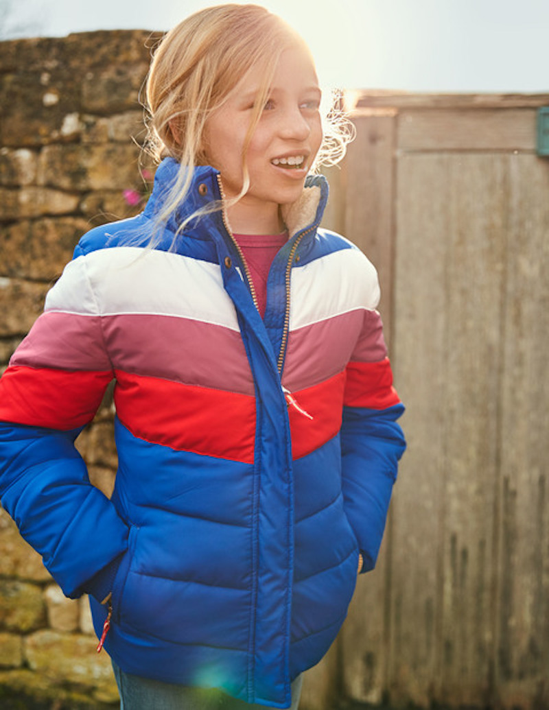Stylish winter coats for girls: Retro-style puffer at Boden
