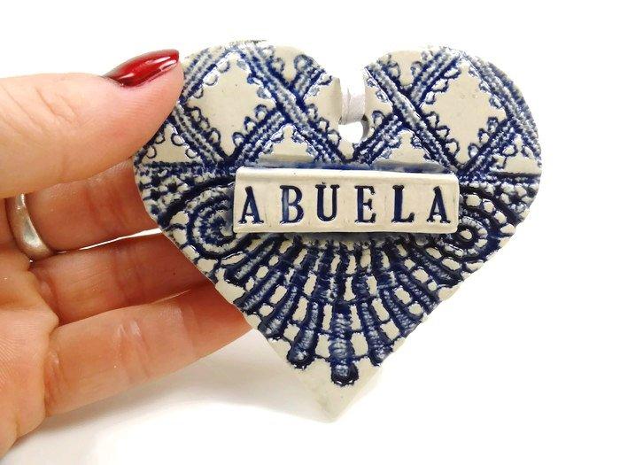 Custom abuela/grandma/nana/grandpa heart ornament from Blue Moon Pottery