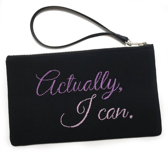 Feminist gifts for activists: Actually I Can embroidered pouch by Speakeasy