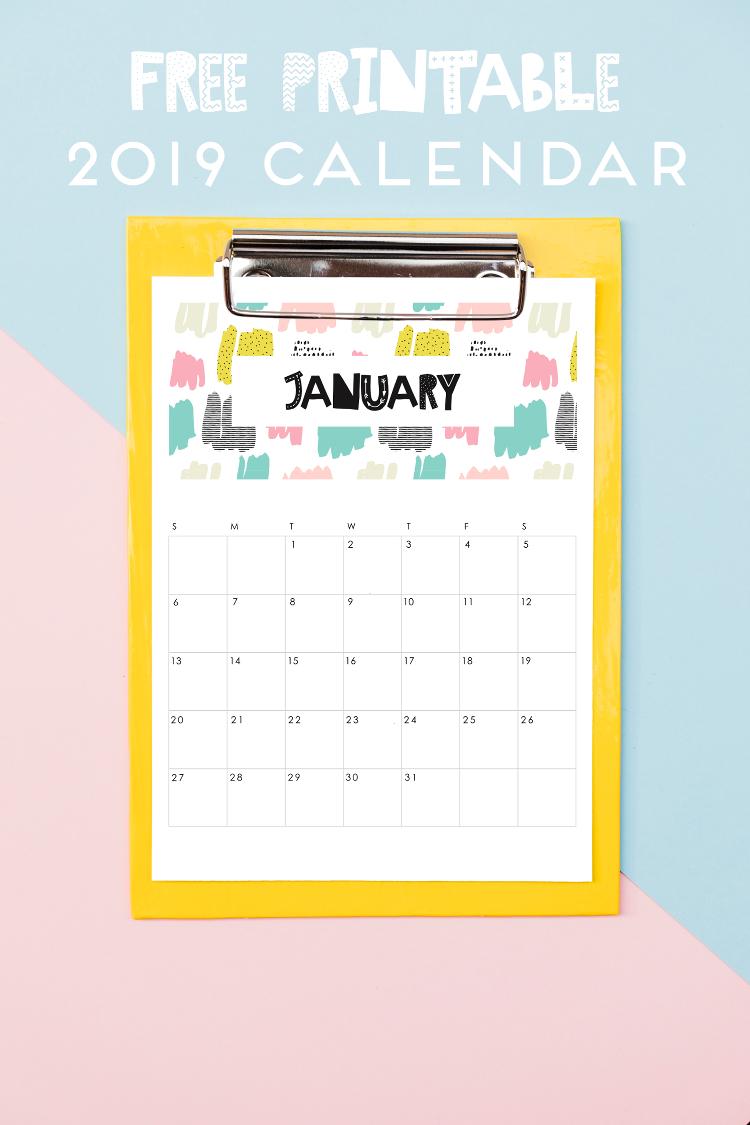 Free 2019 printable calendars: Abstract 2019 printable calendar | Gathering Beauty