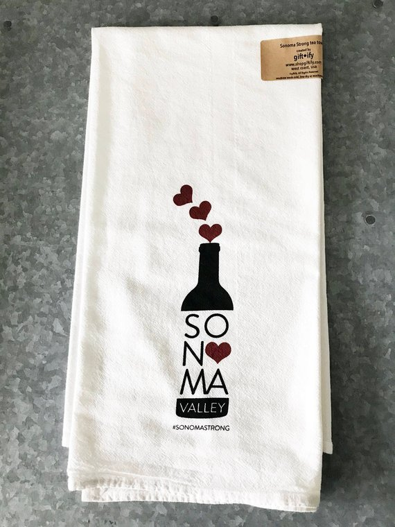 Gifts that give back to first responders of the California wildfires: Sonoma tea towel | Giftify