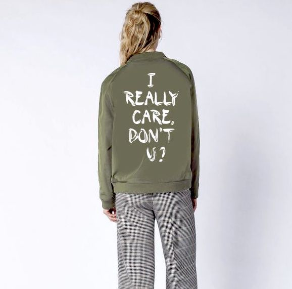 Gifts for feminists: I really care, don't u? Jacket supporting RAICES at Wildfang