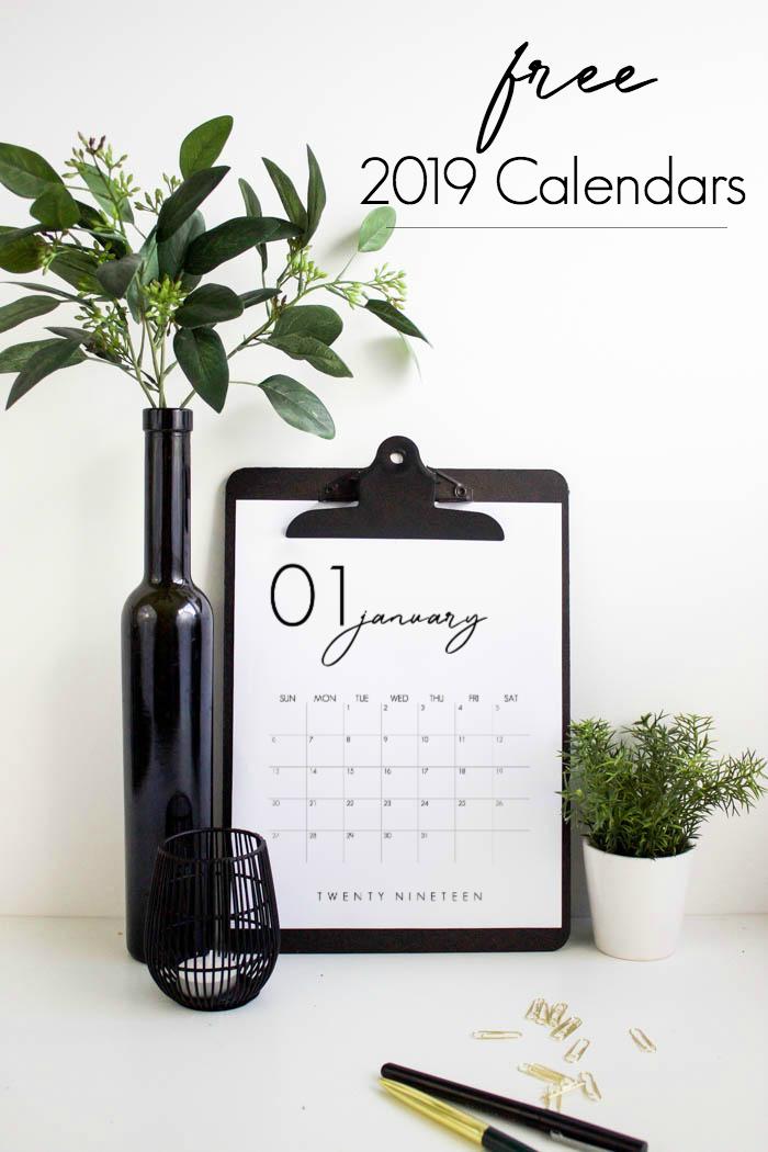 Free 2019 printable calendars: Minimalist 2019 printable calendar | Love Create Celebrate