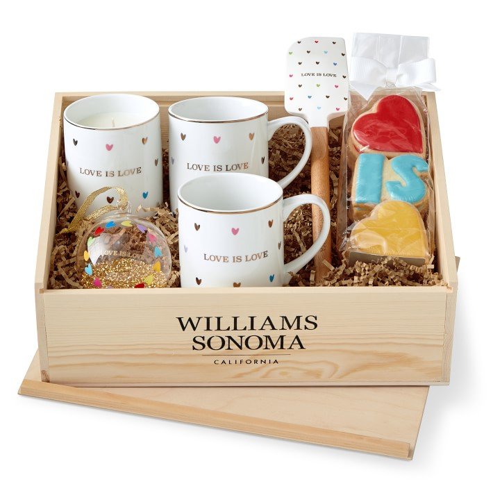 Love is Love gift crate on sale now at Williams Sonoma