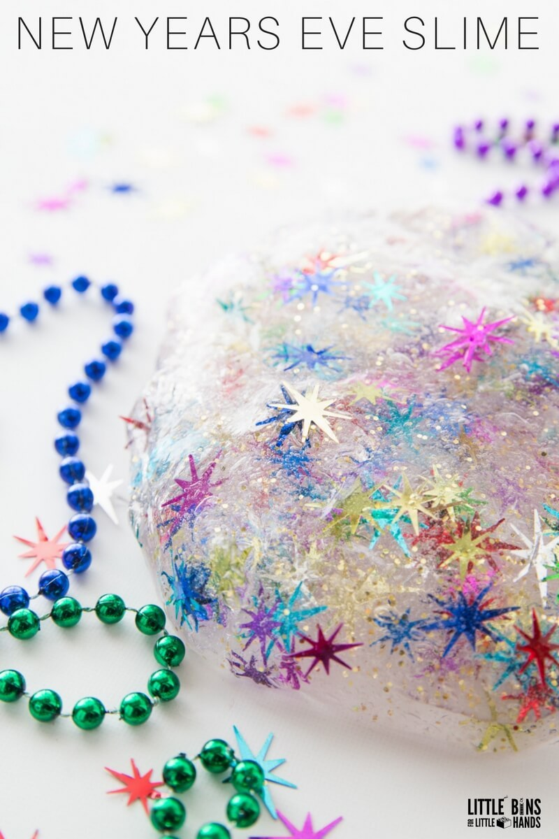 New Year's Eve with the kids: Make NYE Slime at Little Bins, Little Hands