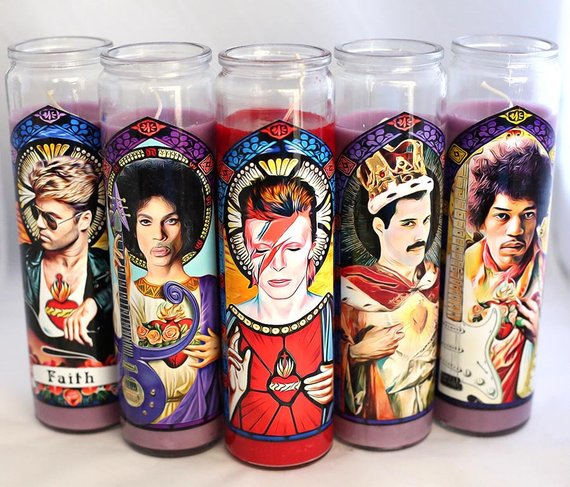 Patron Saints of Rock Prayer Candles: cool, affordable gifts under $15
