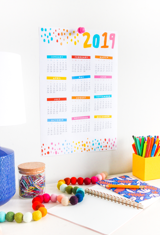 Free 2019 printable calendars: Confetti 2019 printable calendar | The Crafted Life