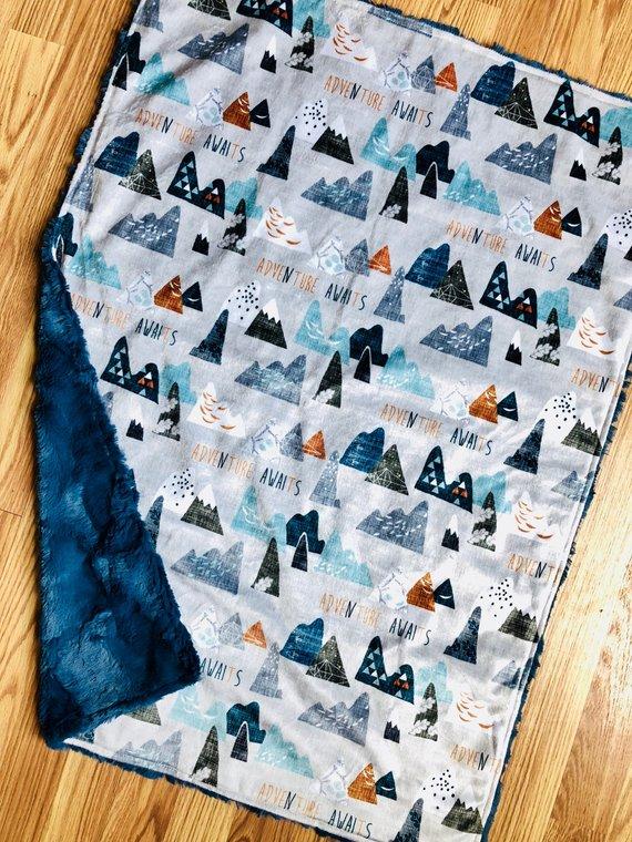 Adventure Awaits handmade baby blanket from Elegant Infant Co on Etsy