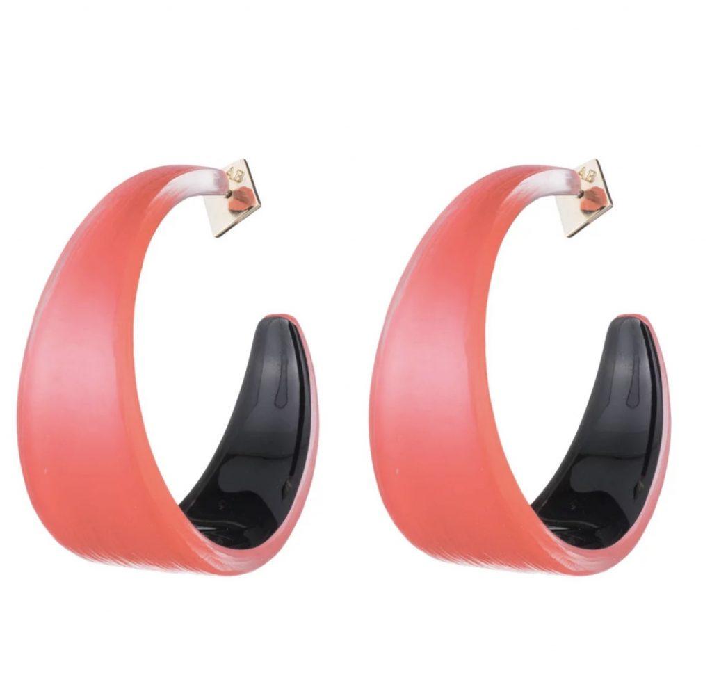 Pantone Coral earrings: Alexis Bittar graduated lucite hoop earrings in Coral