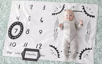 A creative way to take baby milestone photos for more cuteness, less fuss