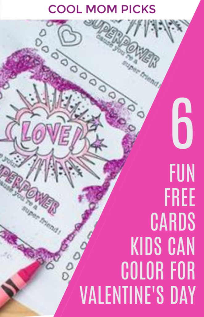 6 cool free printable color-your-own Valentine's cards for kids | Cool Mom Picks