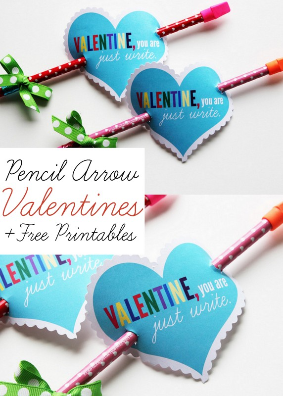 non-candy valentine ideas for kid: Free printable pencil heart arrow valentine from positively splendid