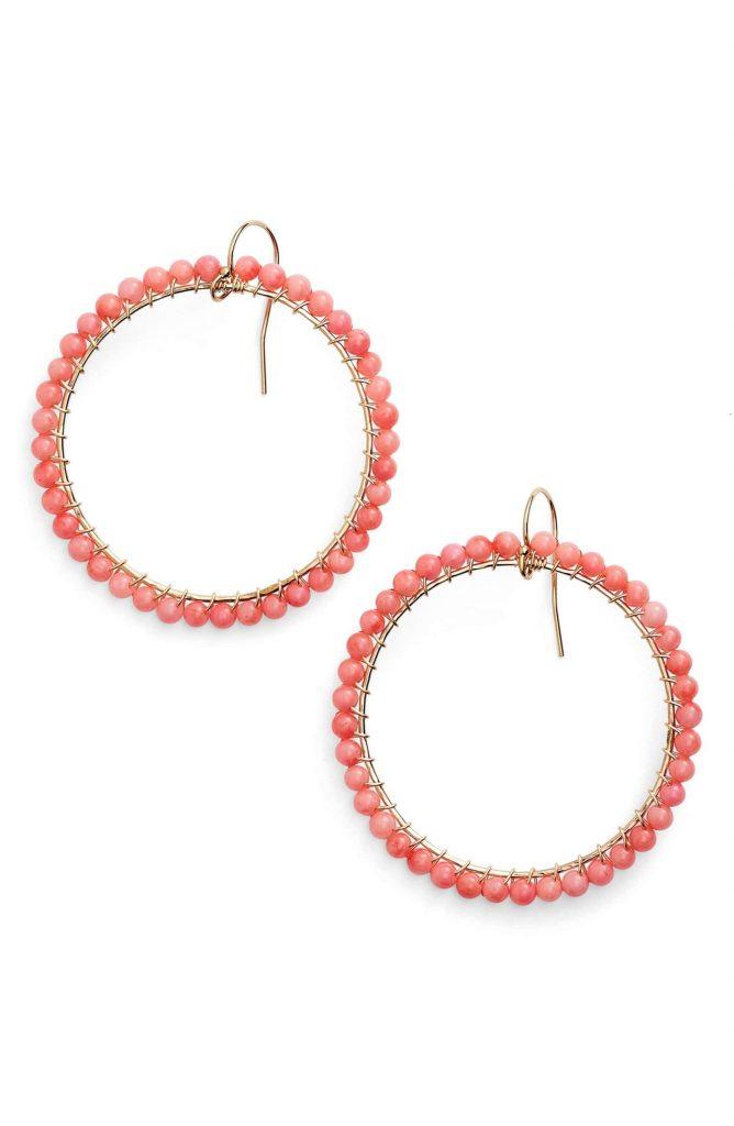Pantone Coral earrings: Ki-Ele Lani Front Hoop Beaded Coral Earrings at Nordstrom