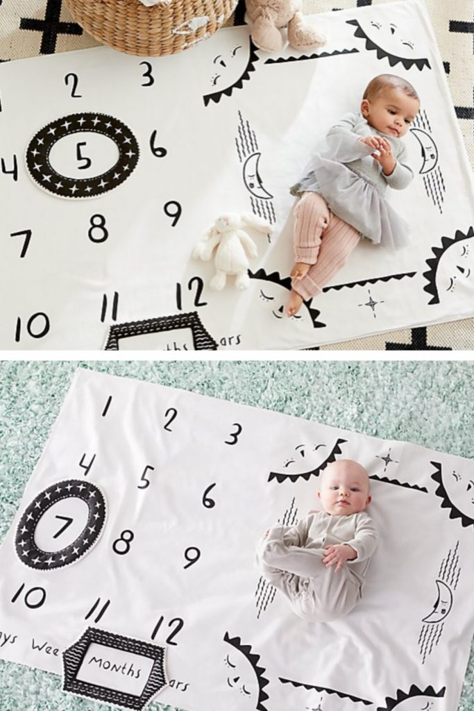 Modern Baby Milestone Mat makes taking pictures of your baby easy, month to month or even week to week | cool mom picks