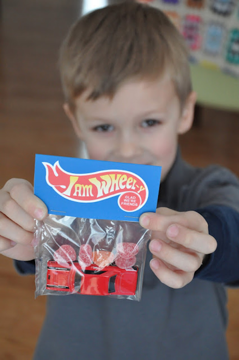 Non-candy Valentine ideas for kids with free printables Hot Wheels at Little Bit Funky